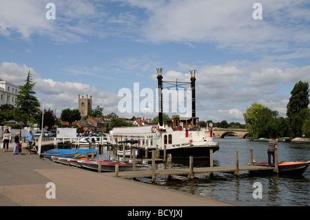Henley on Thames Oxfordshire England mock passenger New Orleans paddle steamer on the River Thames - Stock Photo