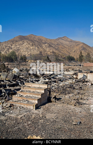 Oakridge Trailer Park devastated after Sylmar Wildfire in November 2008, California, USA - Stock Photo