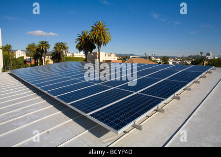 A roof mounted, grid tied Solar Voltaic solar panel array (10Kw) on top of the Santa Monica Library, California, - Stock Photo