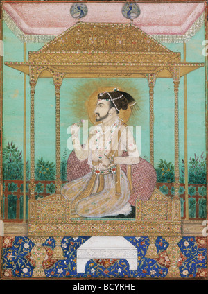 Shah Jahan seated on Peacock Throne, Mughal Style. India, early 17th century - Stock Photo