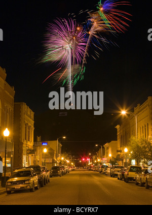 Fourth of July fireworks on S Mountain viewed from the main street in Salida Colorado USA - Stock Photo