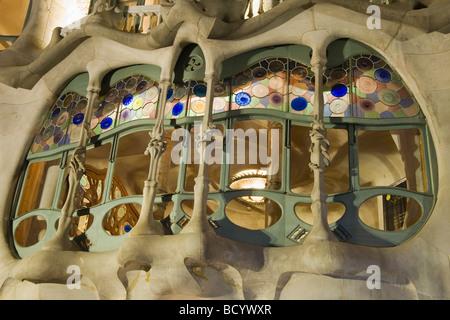 Casa Batlló Façade at night Antonio Gaudi Architect Eixample District Barcelona Catalonia Spain - Stock Photo
