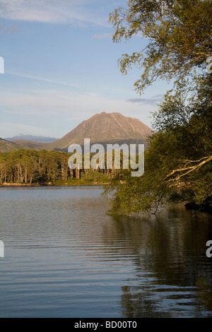 Looking across Loch Maree towards the mountain Slioch from and island - Stock Photo