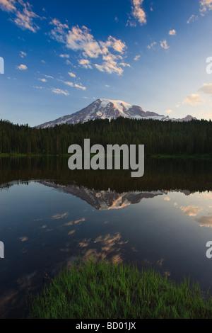 Sunrise at Mount Rainier from Reflection Lake, Washington State, USA - Stock Photo