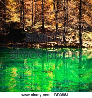valtournanche, breuil cervinia, lago blu, cervino, valle d'aosta, italy - Stock Photo