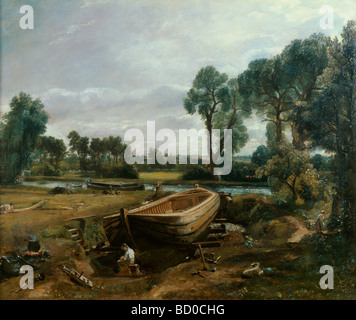 Boat building near Flatford Mill, by John Constable. England, 1817 - Stock Photo