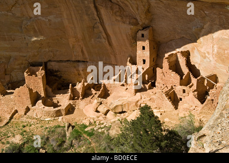 Square Tower House ruin, Mesa Verde National Park, Cortez, Colorado - Stock Photo