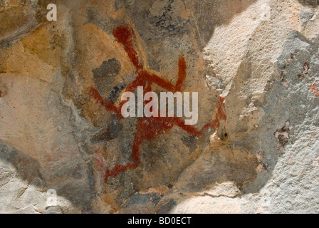 Pictographs on rock, Gila Cliff Dwellings National Monument, New Mexico - Stock Photo
