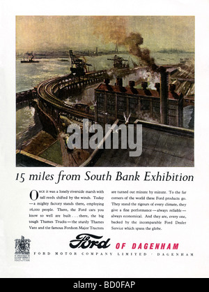 1951 advertisement for Ford Motor Company, Dagenham featuring an illustration of the factory beside the River Thames - Stock Photo