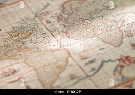 Antique map of the world - Stock Photo
