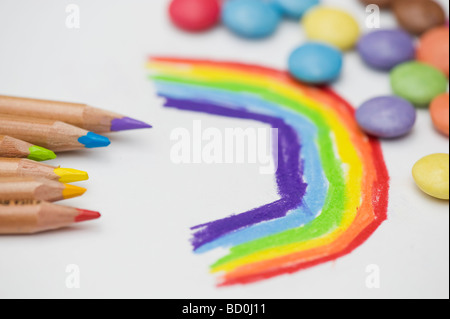 Childs drawing of a rainbow with colouring pencils and smarties