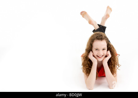 Young Girl Laying On Stomach