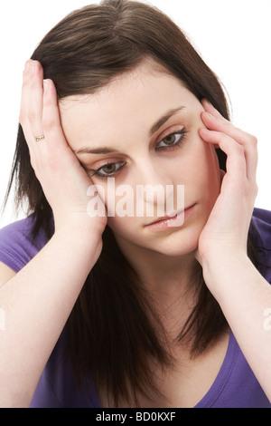 Studio Portrait Of Depressed Woman - Stock Photo