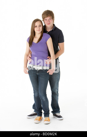 Teenage Couple In Studio - Stock Photo
