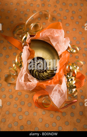 Party gift being unwrapped - Stock Photo