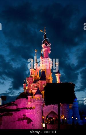 Sleeping Beauty castle in Euro Disney, Paris, France - Stock Photo