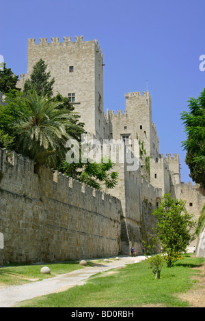 Palace of the Grand Masters and dry moat in Rhodes Old Town Rhodes Dodecanese Greece - Stock Photo