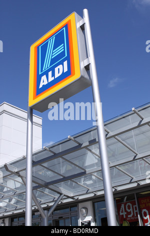 Aldi supermarket sign in Shepton Mallet UK