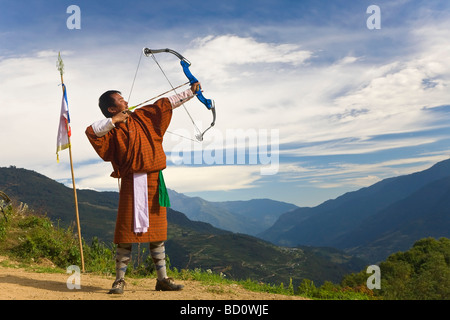 Archery competition Bumthang Bhutan - Stock Photo