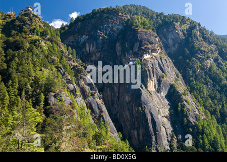Taktsang Dzong monastery or Tigers Nest built in the 8th century Paro Bhutan - Stock Photo