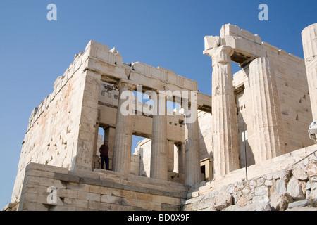 The Propylaea, the monumental gateway entrance to the Acropolis, Athens, Greece - Stock Photo
