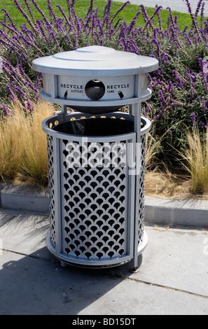 a public recycling bin - Stock Photo