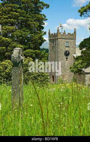 Clock tower of St Michael and all Angels church from the cemetery Hawkshead Cumbria England UK United Kingdom GB - Stock Photo