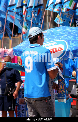Napoli Football Club Fan Supporter at the Stadium - Stock Photo