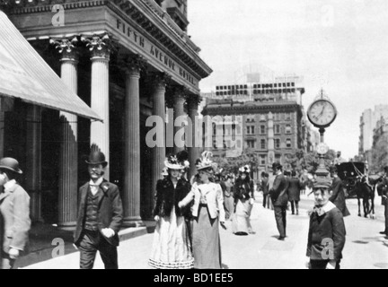 NEW YORK 1896 - The Fifth Avenue Hotel on Madison Square - Stock Photo