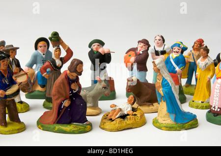 Santons, traditional Provençal terracotta figurines - Stock Photo