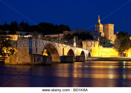 Pont St Benezet over River Rhone in Avignon France - Stock Photo