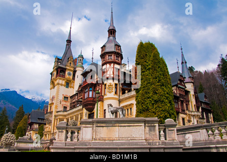 Romania's Peles Castle, built in 19th century at Sinaia in Wallachia, most famous royal residence in country (contains - Stock Photo