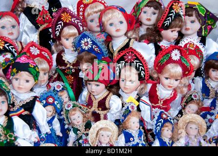 Romanian dolls in souvenir shop at Bran Castle, aka Dracula's Castle, in Transylvania - Stock Photo