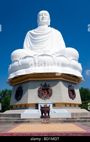 Large statue of Gautama Buddha, Long Son Pagoda (Chua Long Son), Nha Trang, Vietnam - Stock Photo