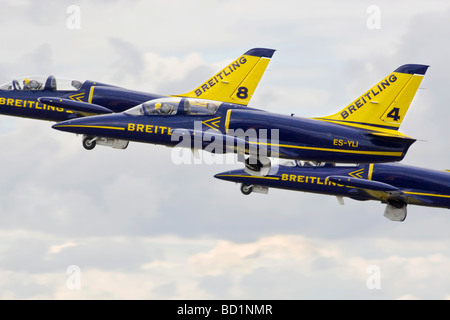 The Aero L39 Albatross s of the Breitling aerobatic team - Stock Photo