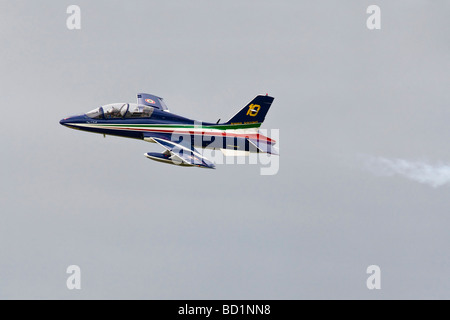 An Aermacchii MB339 of the italian air force aerobatic team The Frecce tricolori - Stock Photo