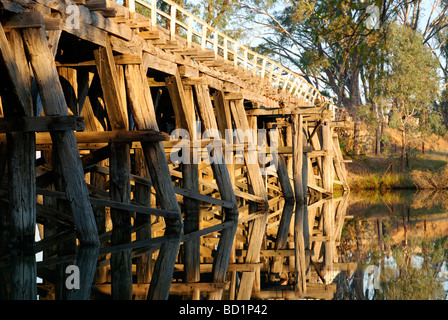 Chinaman's Bridge across the Goulburn River, near Nagambie, Victoria, Australia in the late afternoon. - Stock Photo