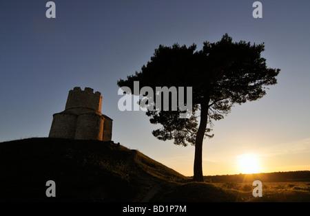 Sunset at Romanesque St Nicolas Nicola Church Located on Earthen Hill in Fields of Prahulje near Nin in Dalmatia - Stock Photo