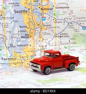 Automobile on Road map or Seattle Tacoma Washington USA United