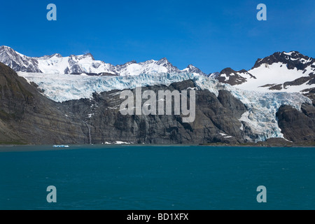 Bertrab hanging glacier clings to rockface at Gold Harbour South Georgia Antarctica - Stock Photo