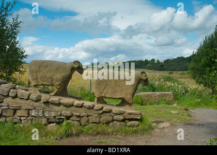Sheep sculpture on Pennine Way path, near Low Force on River Tees, Teesdale, County Durham, England UK - Stock Photo