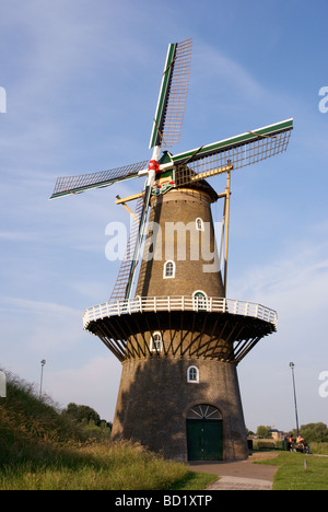 The De Hoop windmill by the ramparts at Gorinchem - Stock Photo
