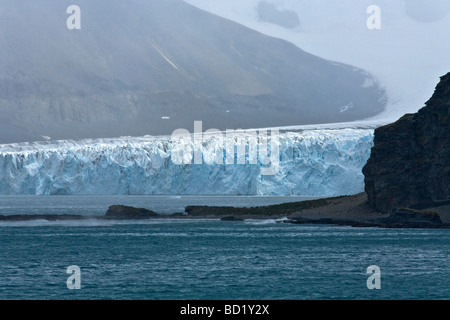 Fortuna Glacier tidewater melting into Cumberland Sound South Georgia Antarctica - Stock Photo