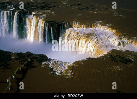 Devil's Throat, Iguassu Falls, Iguassu Falls National Park, waterfalls, Brazil-Argentina border, Argentina, Brazil, - Stock Photo