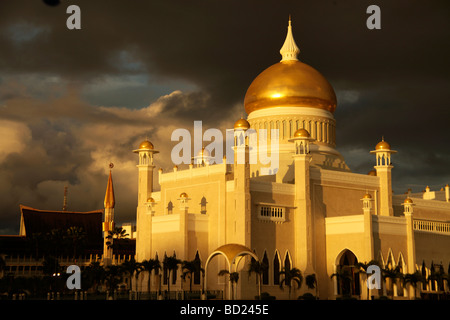 Royal Mosque of Sultan Omar Ali Saifuddin in the capital city Bandar Seri Begawan Brunei Asia - Stock Photo