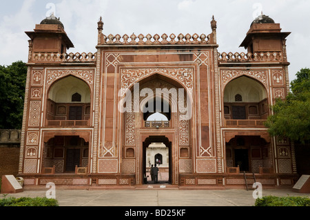 Eastern facing gateway of Itmad-ud-Daula's Tomb site. Agra. India. - Stock Photo