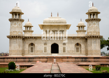Itmad-ud-Daulah's dome Tomb mausoleum. Agra. India. - Stock Photo