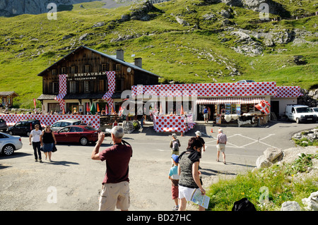 Bar & restaurant at the top of Col de la Colombiere, decked out in Tour de France king of the mountains polka dots. - Stock Photo