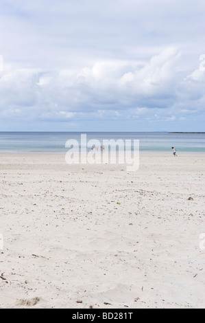CALGARY BAY ON THE ISLE OF MULL INNER HEBRIDES A family swim in the azure sea at the white sand beach of Calgary - Stock Photo