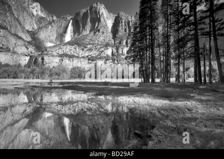 Yosemite Falls reflected in pool of water Yosemite National Park California - Stock Photo